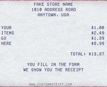Free Online Service To Create A Custom Receipt : Custom Receipt