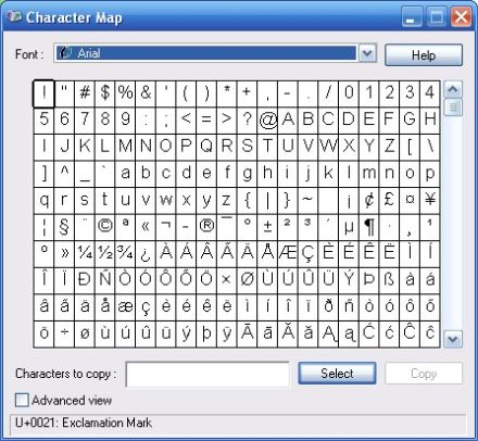 How to access Character Map fast using Windows XP shortcut : Ask the Character Map Xp on