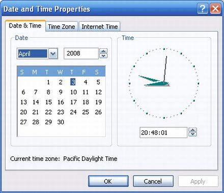 How to access Date and Time Properties fast using Windows XP