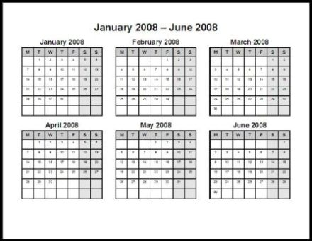 Print 2008 Calendar Two Pages Semi Annual Ask The Econsultant