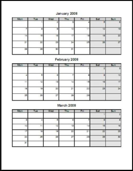 Monthly Calendar By Quarter : Print calendar four pages quarterly ask the