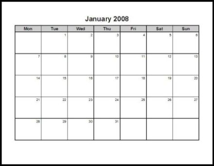 word document calendars