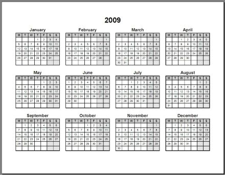 Print 2009 Calendar : Single Page (Annual) : Ask the eConsultant