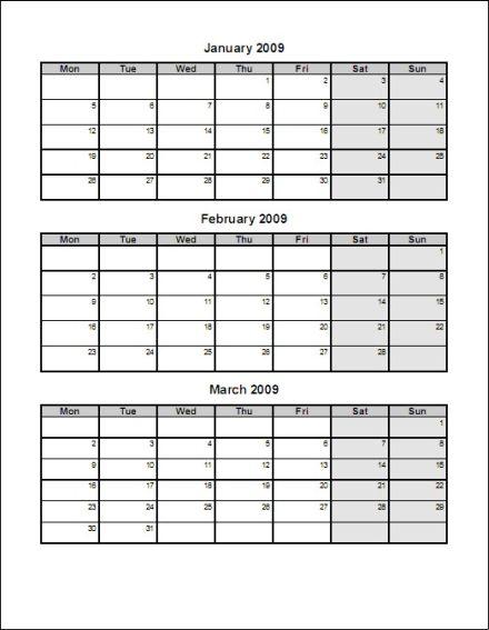 Month Calendar Template 2015 Printable | Calendar Template 2016