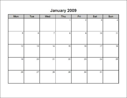 Free Print Your 2009 12 Pages Landscape Microsoft Word Calendar No ...