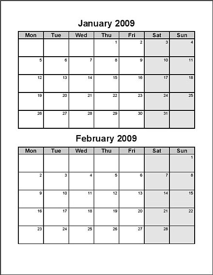 Print 2009 Calendar Six Pages Bi Monthly Ask The Econsultant