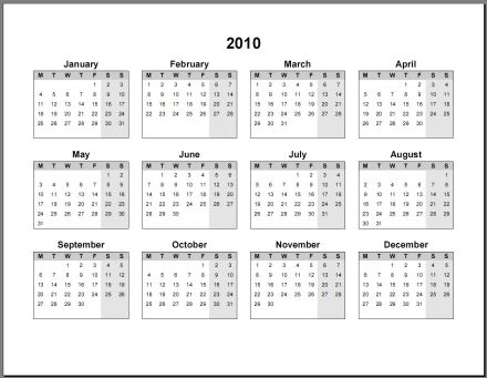 1 page yearly calendar 2011. 2011 Single Page (Annual)