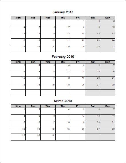 photograph relating to Printable 3 Month Calendar known as 3 thirty day period printable calendars -