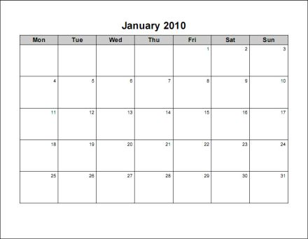 Print 2010 Calendar : Twelve Pages (Monthly) : Ask the eConsultant