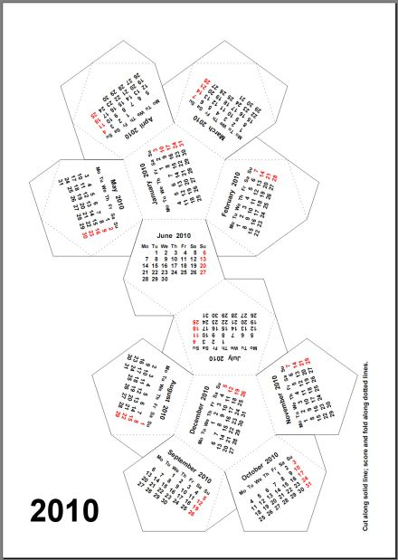 2010 1 Page Dodecahedron PDF Calendar.