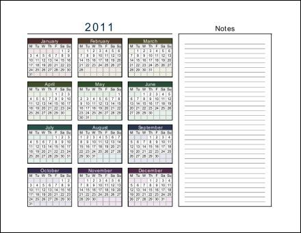 Page 2011 2011 1 Page Calendar With