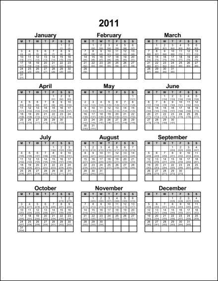 Printable Julian Calendar 2013 2011 1 page julian portrait