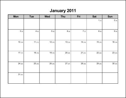 Print 2011 Calendar : Twelve Pages (Monthly) : Ask the eConsultant