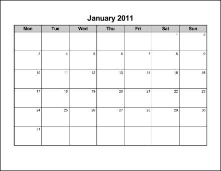 Print 2011 Calendar : Twelve Pages (Monthly) - eConsultant's soup