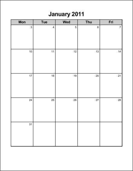 2011 Calendar Monday through Sunday http://blog.econsultant.com/print ...
