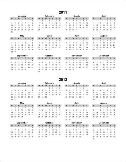 2011 2012 1 Page Multi Year Portrait 1 (Starts Monday) (PDF) 2011 2012