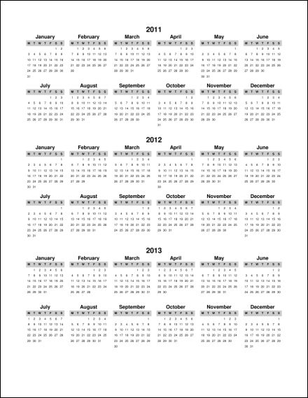 Multiple Year Calendar : Print calendar single page annual ask the