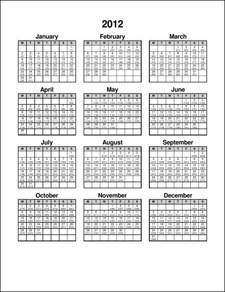 Julian Calendar 2014 2012 1 page julian portrait