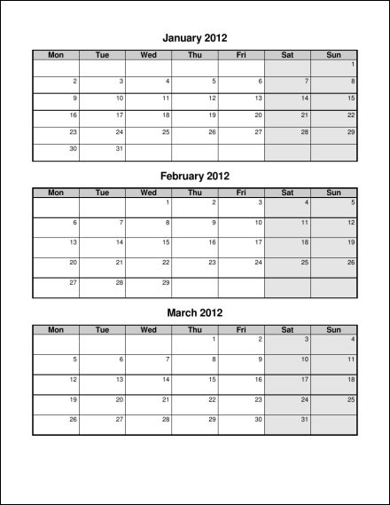 Quarterly Calendar - Template