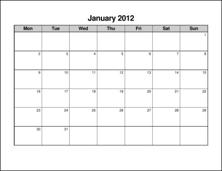 monthly calendar starting with monday