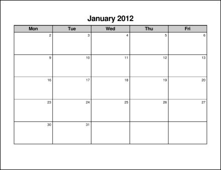 blank weekly calendar monday through friday