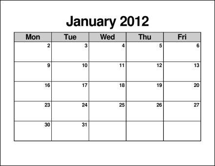 Blank Monday Through Friday Calendar | Calendar Template 2016