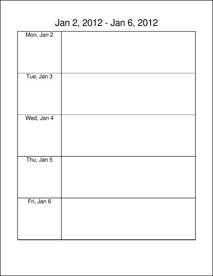 2012 52 Pages Mon Thru Fri Planner Portrait Microsoft Word Calendar  Microsoft Word Weekly Calendar