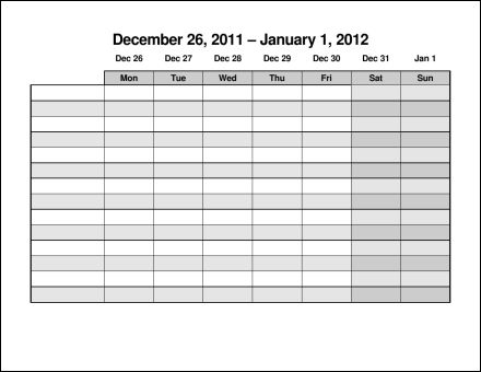 Print 2012 Calendar Fifty Two Pages Weekly eConsultants soup – Monday to Sunday Schedule Template