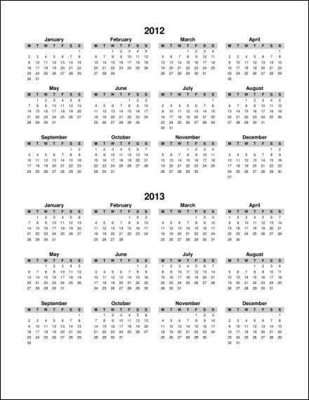 2012 2013 1 Page Multi Year Portrait 1 (Starts Monday) (PDF) 2012 2013