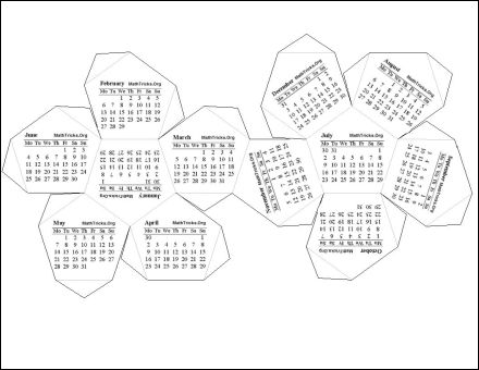 2012 1 Page Dodecahedron PDF Calendar.